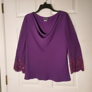 NWOT S. L. Fashions Drape Neck Top, Beaded Sleeves
